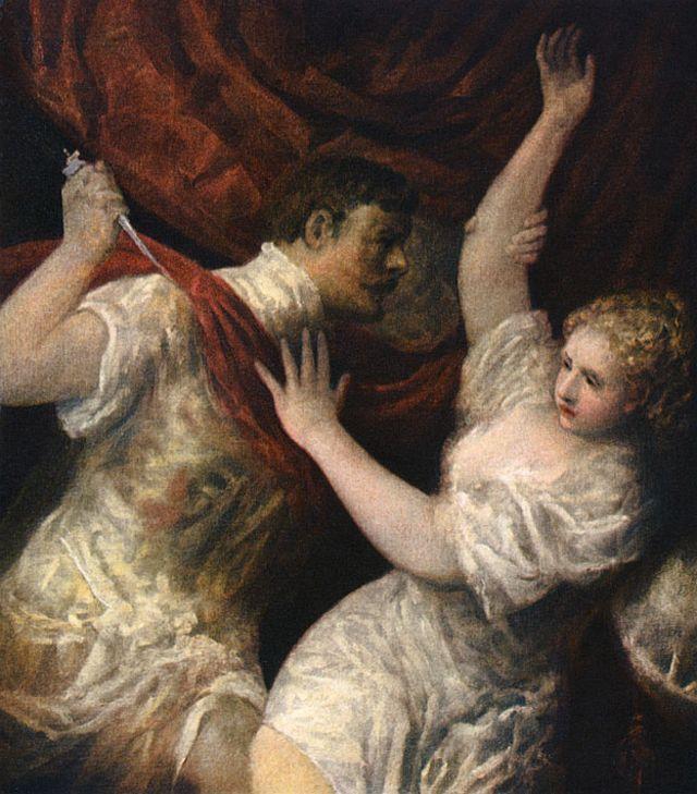 Lucrécia e Tarquínio, em pintura de 1560, do pintor italiano Ticiano