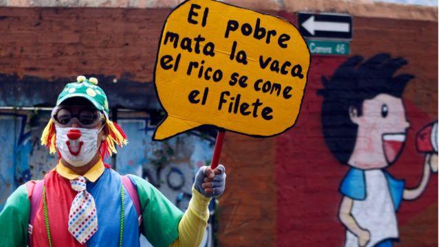 Manifestante en Medellín.