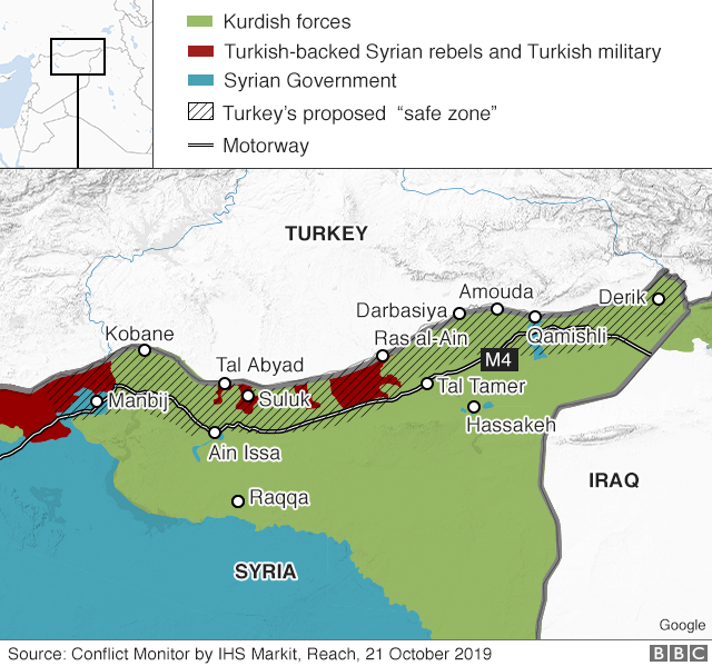 Map showing control of northern Syria (21 October 2019)