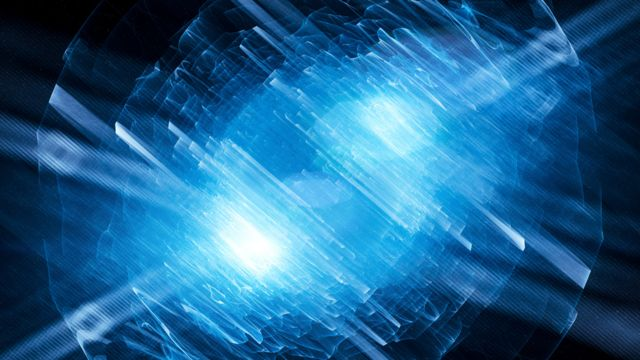 Ilustración de partículas en mecánica cuántica