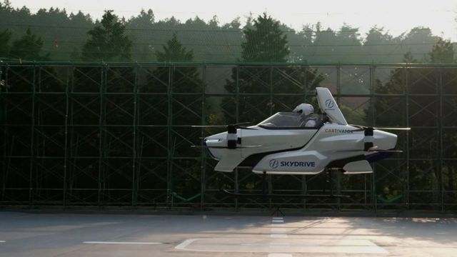 The SD-03, a manned flying car, takes a test flight in Japan in August 2020