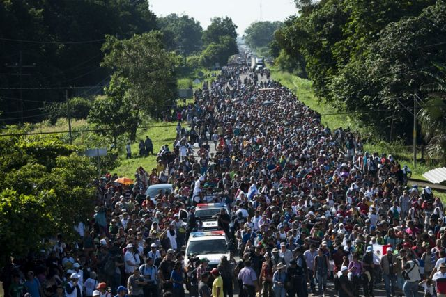 More than 7,000 people have joined the caravan which has so far walked from San Pedro Sula in Honduras to Huixtla in Mexico