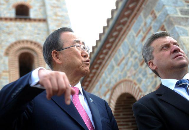 Ban Ki-moon en Macedonia en 2012