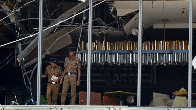 位於科倫坡的香格里拉酒店,損毀嚴重。