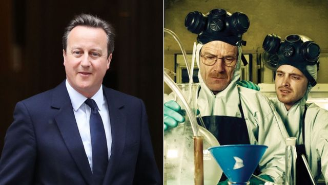 David Cameron and Bryan Cranston and Aaron Paul in character in Breaking Bad