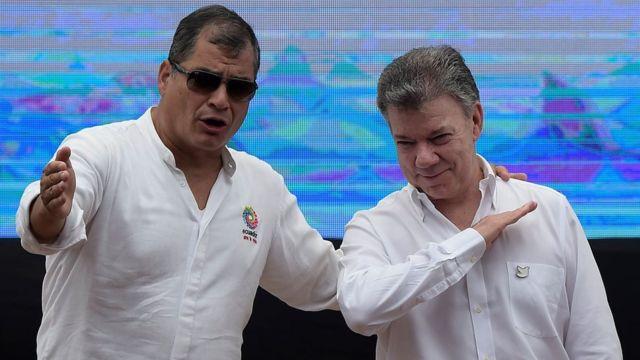 Rafael Correa y Juan Manuel Santos.