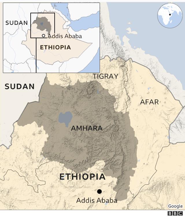 Kaart, mis näitab Etioopia Amhara piirkonda