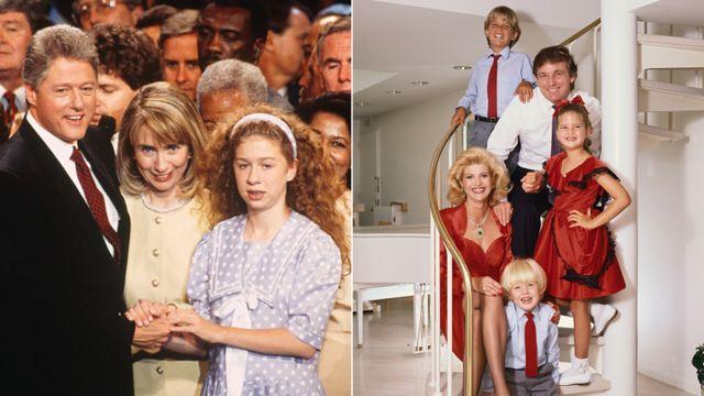 左の写真は、ビル・クリントンを大統領候補に指名した1992年民主党大会でのクリントン一家。右の写真は1986年ごろのトランプ一家。