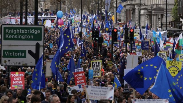 Protesters at the People's Vote march