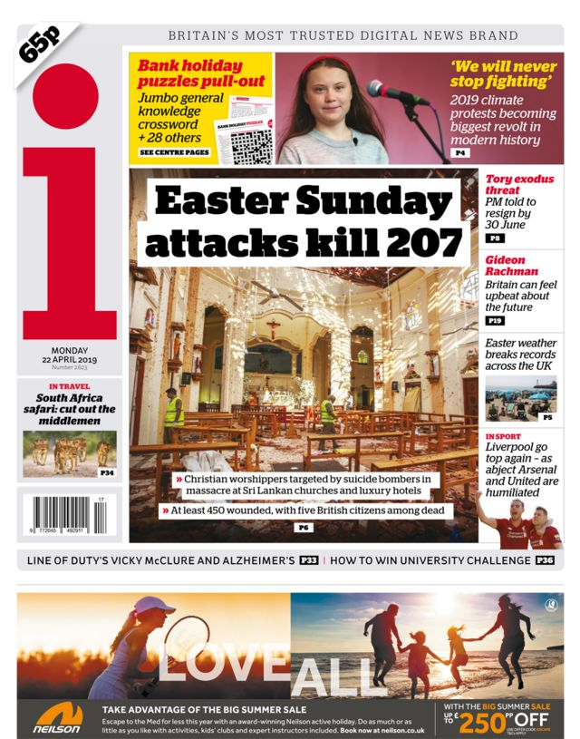 Newspaper headlines: 'Innocent lives lost' in 'Easter massacre'