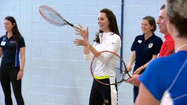 Duchess of Cambridge in a tennis practice session