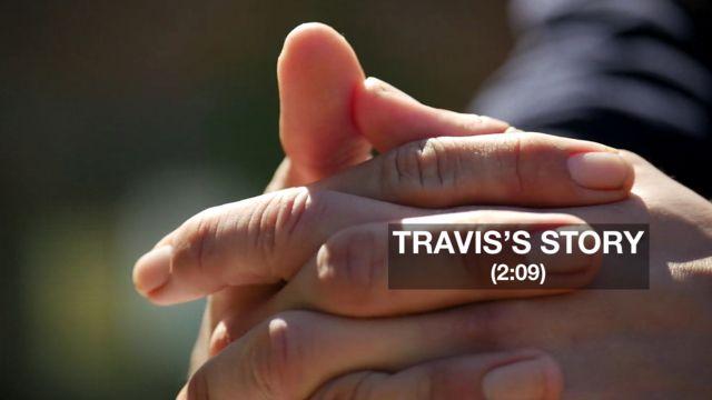 Hands of former ketamine user Travis