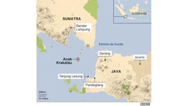 Mapa mostra onde foi tsunami