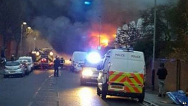Fire at an industrial bakery in Tottenham, north London