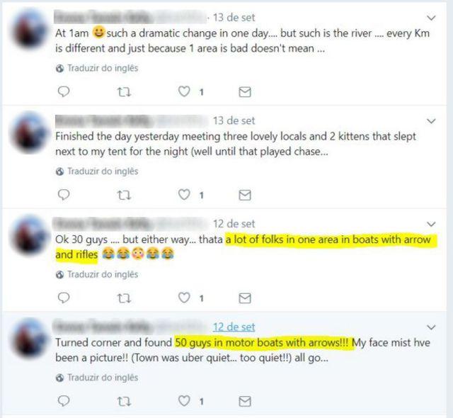 Reprodução de tuites da britânica em que ela descreve ter visto homens armados