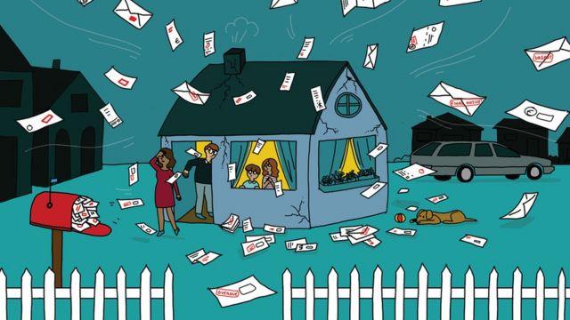 Ilustração de uma família com dezenas de contas caindo sobre ela