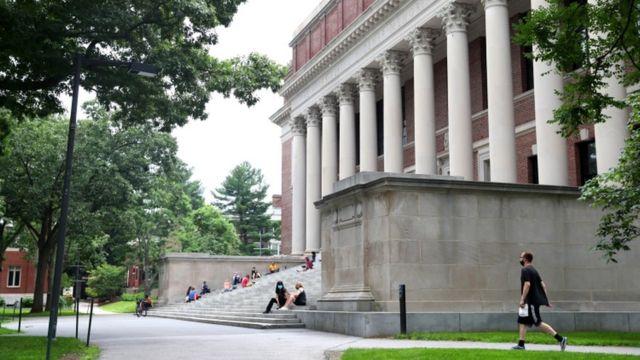A view of Harvard Yard on the campus of Harvard University on July 08, 2020 in Cambridge, Massachusetts.