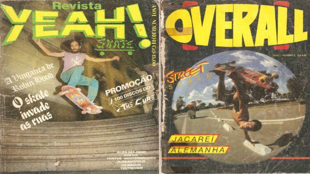 Street skate na capa das revistas Yeah! e Overall, em 1986