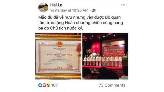 Ảnh chụp màn hình Facebook Hai Le, được cho là của ông LêTthanh Hải