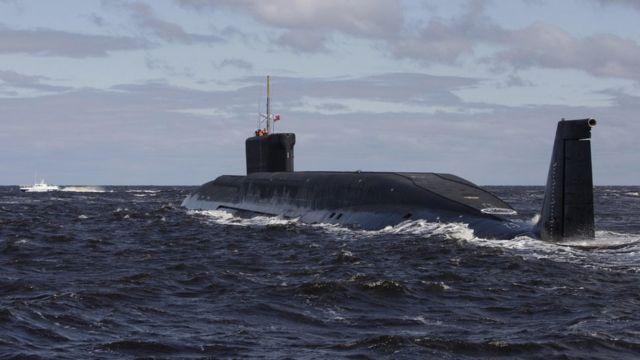 File pic of Russian nuclear submarine, the Yuri Dolgoruky (2009)