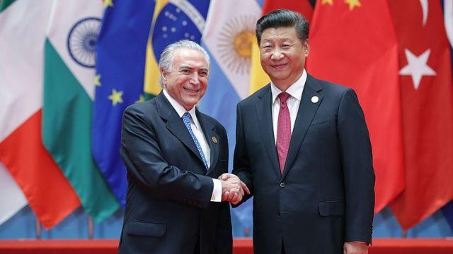 中国国家主席习近平和巴西总统米歇尔·特梅尔