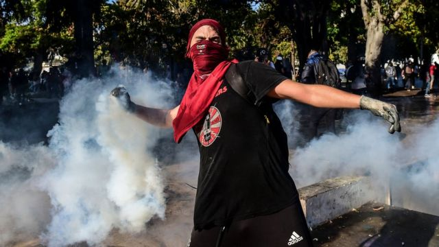 Manifestante en Viña del Mar