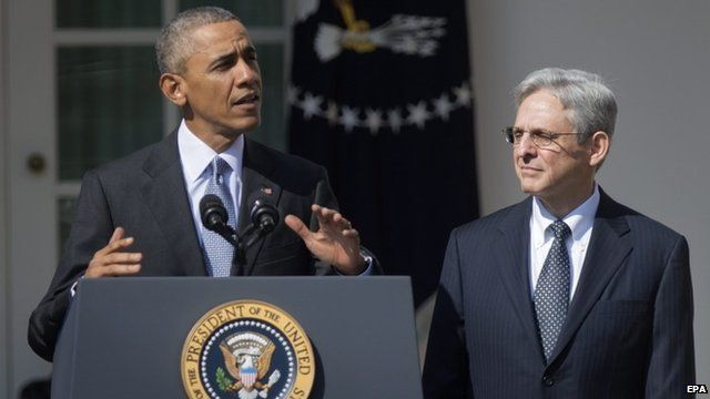 US President Barack Obama (L) announces his nominee to the United States Supreme Court, Chief Judge, US Court of Appeals, DC Circuit Merrick Garland