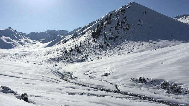 Tian Shan mountains in the snow