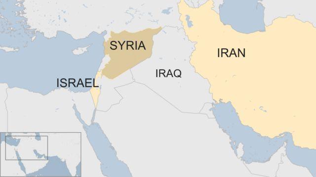 中東地域の地図。シリアはイスラエルとイランの間に位置する