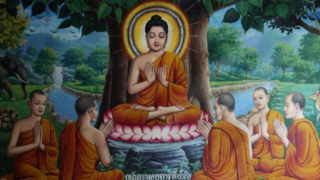 Pintura de Buda representado com auréola