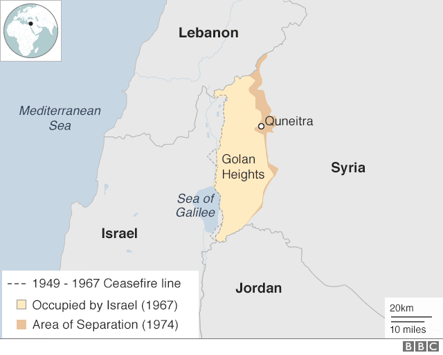 Map showing Israel, Lebanon and Syria