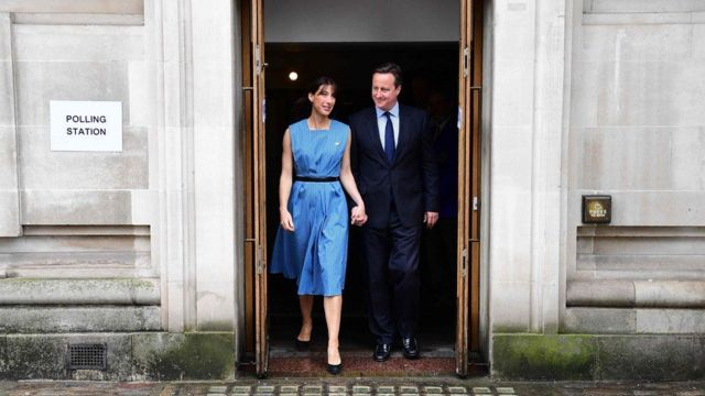 David Cameron with his wife