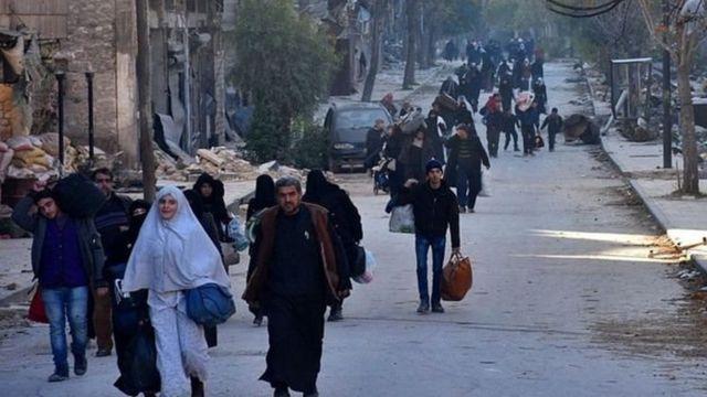Des habitants du quartier de Bab al-Hadid