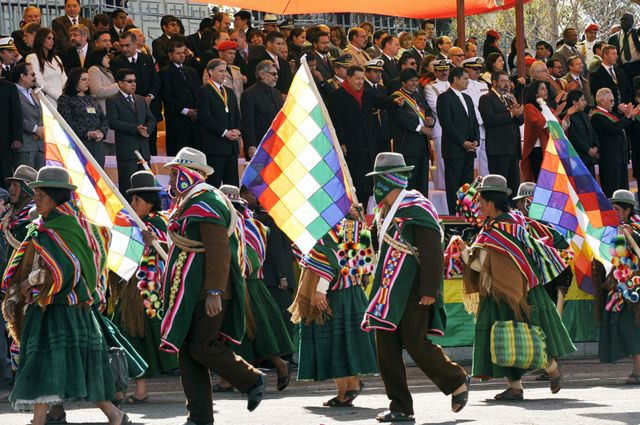 Evo Morales and other Latin American presidents celebrate Bolivia's bicentennial in La Paz, in July 2009