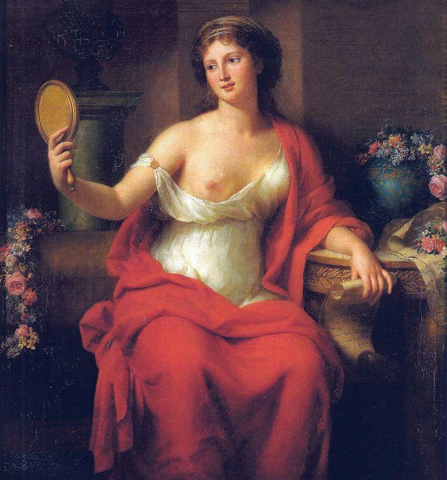 Autorretrato da pintora francesa Marie-Geneviève Bouliard vestida de Aspásia, 1794