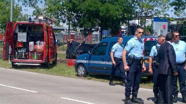 French police at scene of suspected Islamist attack at a factory near Lyon