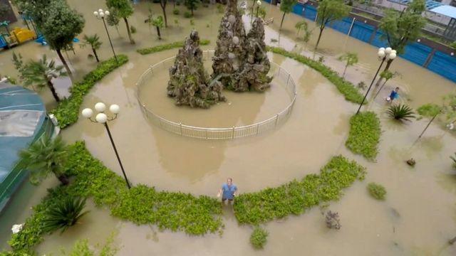 Flooding in Xinzhou, Hubei, in China