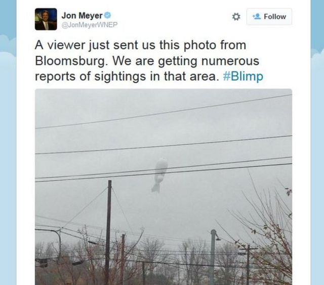 """tweet """"A view just sent us this photo from Bloomsburg. We are getting numerous reports of sighting in that area"""""""
