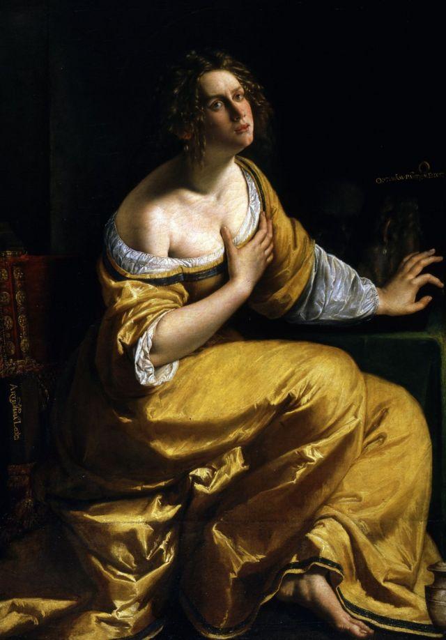 """""""La conversione della Maddalena"""" (La conversión de la Magdalena), de Artemisia Gentileschi. 1616-17 ca. Óleo sobre lienzo, 146.5 x 108 cm."""