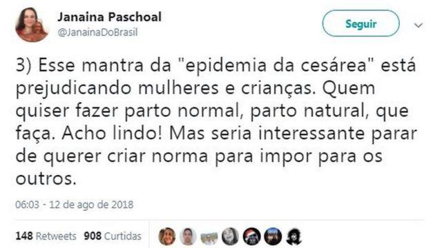 """Tweet de Janaína Paschoal diz: """"Esse mantra da """"epidemia da cesárea"""" está prejudicando mulheres e crianças. Quem quiser fazer parto normal, parto natural, que faça. Acho lindo! Mas seria interessante parar de querer criar norma para impor para os outros."""""""