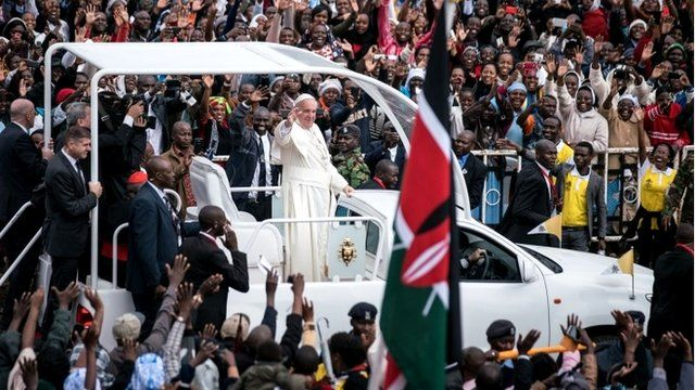 Pope Francis arrives at the University of Nairobi for a public mass in downtown Nairobi