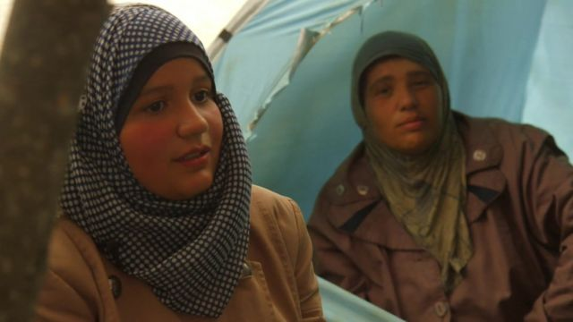 Women at a migrant camp in Idomeni, Greece.