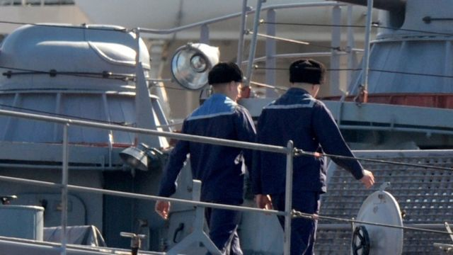 クリミアの軍港セバストポルに停泊中のロシア軍艦(写真は2014年)