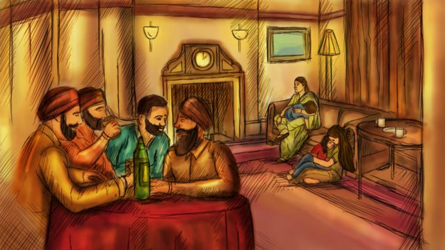 A group of men drink spirits at a table while women look after tired children in the background