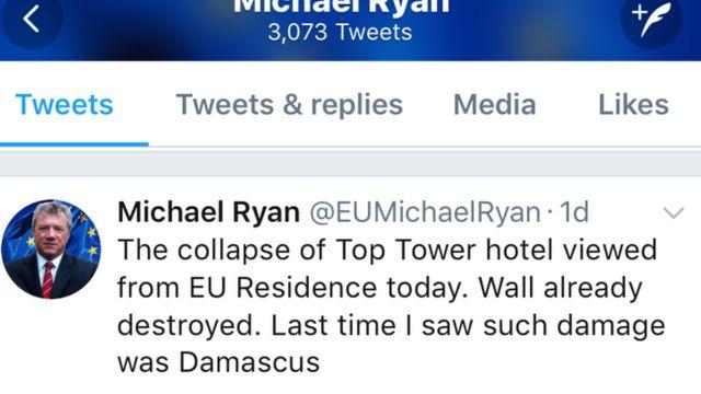 Ambasaderi Michael Ryan yakoresheje Twitter agereranya isenywa rya Top Tower n'ibibera i Damascus muri Siriya.