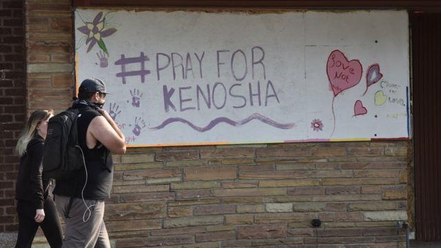 """A sign reading """"Pray for Kenosha"""" in Wisconsin"""