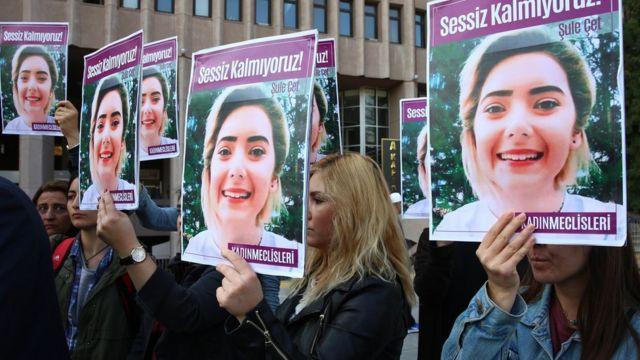 خلال تظاهرة احتجاجاً على جريمة اغتصاب وقتل شابة تركية عام 2018