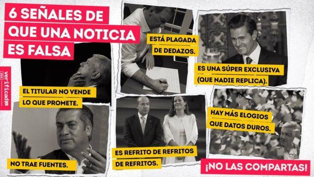 Imagem compartilhada por WhatsApp pelo projeto mexicano Verificado 2018, para combater notícias falsas nas eleições mexicanas; está escrito: 6 sinais de que uma notícia é falsa