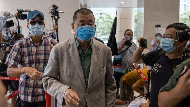 黎智英進入香港西九龍裁判法院(3/9/2020)