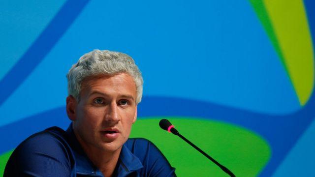 Ryan Lochte durante coletiva dem imprensa na Olimpíada no Rio